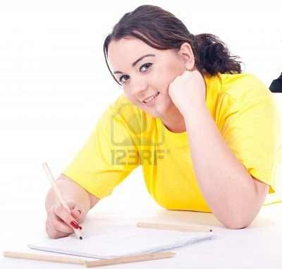 9036772-overweight-fat-woman-in-yellow-shirt-writing-on-blank-card