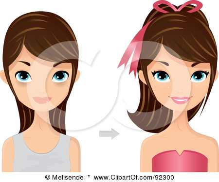 92300-Royalty-Free-RF-Clipart-Illustration-Of-A-Brunette-Caucasian-Woman-Shown-Before-And-After-A-Make-Over