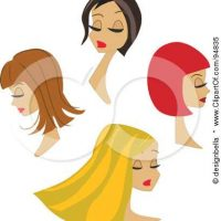 94835-Royalty-Free-RF-Clipart-Illustration-Of-A-Digital-Collage-Of-Four-Beautiful-Women-With-Different-Hair-Styles-And-Colors
