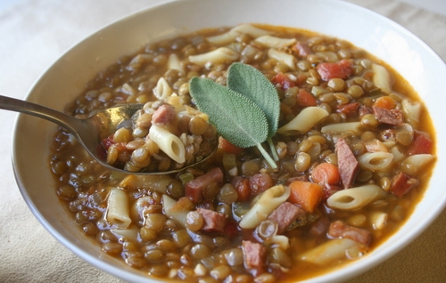 Lentil-soup-and-noodles