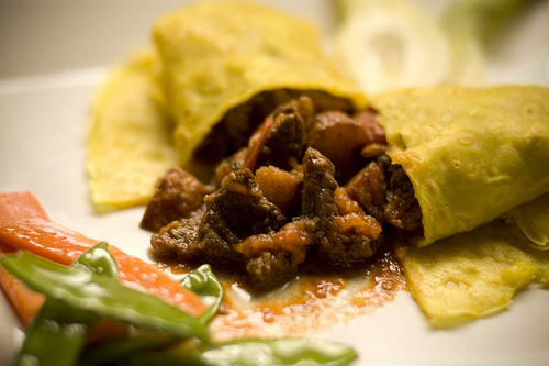 Crepe-stuffed-with-meat-and-white-sauce