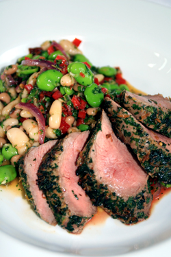 Grilled-lamb-salad-with-beans