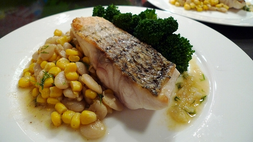 Bass-with-dill-sauce