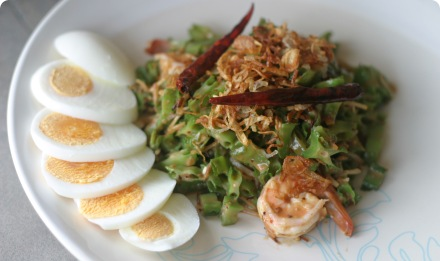 Green beans salad and coconut milk