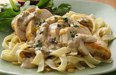 Pasta ribbons with Mushrooms and cream