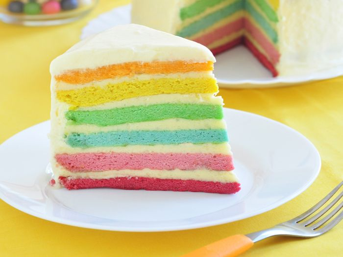Cake layers colored
