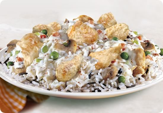 Casserole rice with chicken and cream
