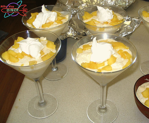 Orange sherbet with grapes and cream