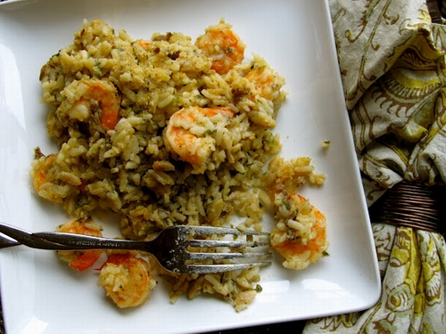 Shrimp with rice and corn granules