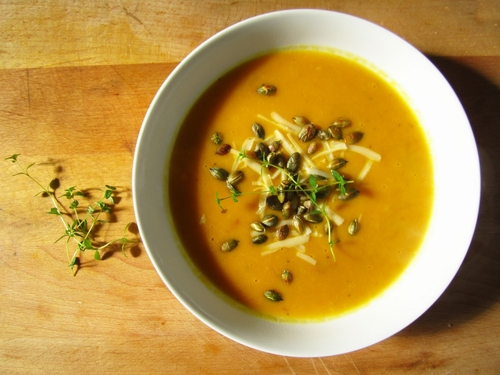 Red Pumpkin Soup with cheese and chestnuts