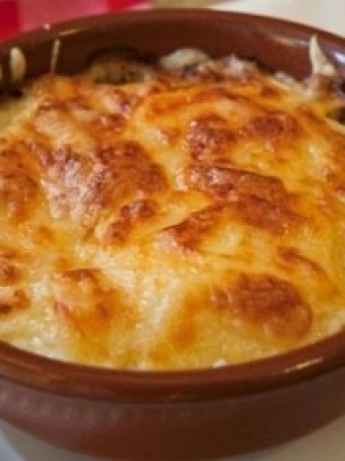 Mashed potato pie and cheese