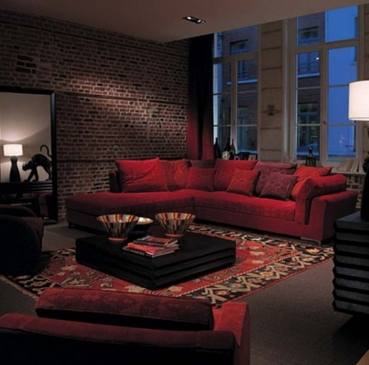 Sitting rooms decorated in red (3)