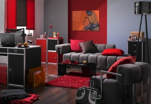 Sitting rooms decorated in red (7)