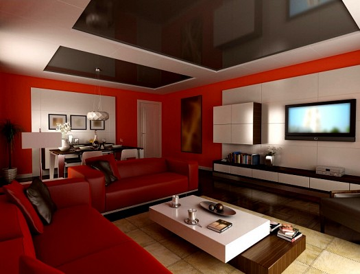Sitting rooms decorated in red (9)