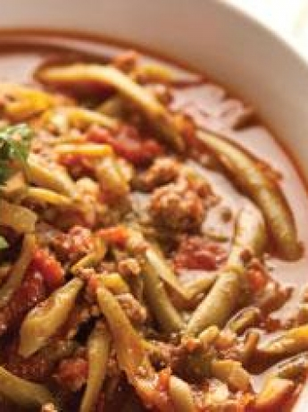 Stewed green beans with minced meat