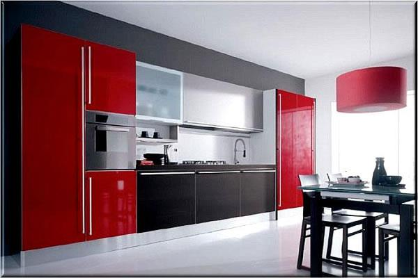 Kitchens decorated in red (2)
