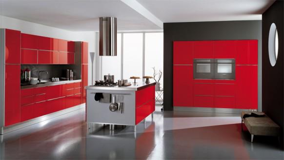 Kitchens decorated in red (4)