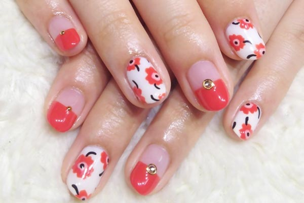 flowers-rhinestones-french-coral-nails