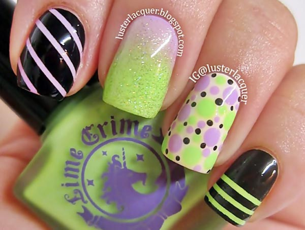 striped-dotted-gradient-green-lilac-nails