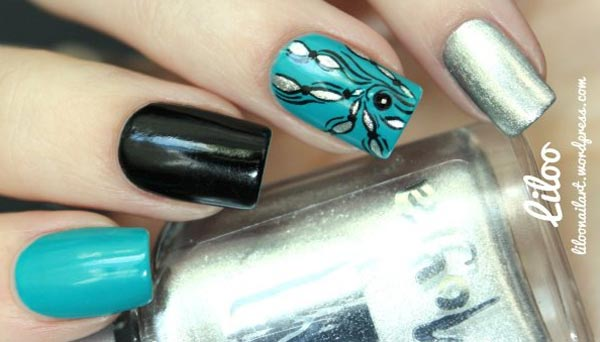 turquoise-black-silver-accent-nails