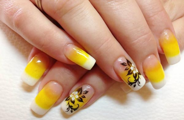 yellow-gradient-french-flower-accent-nails