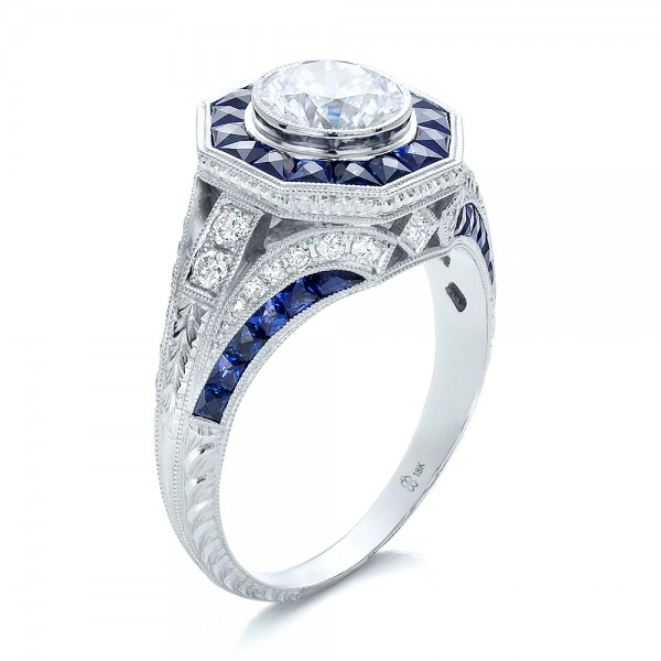 Art-Deco-Style-Blue-Sapphire-Halo-and-Diamond-Engagement-Ring-3Qtr-100386