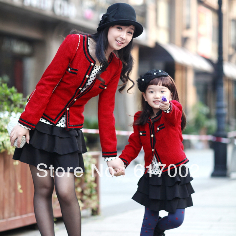 Female-child-red-vintage-small-short-design-outerwear-family-fashion-2012-autumn-winter-clothes-for-mother