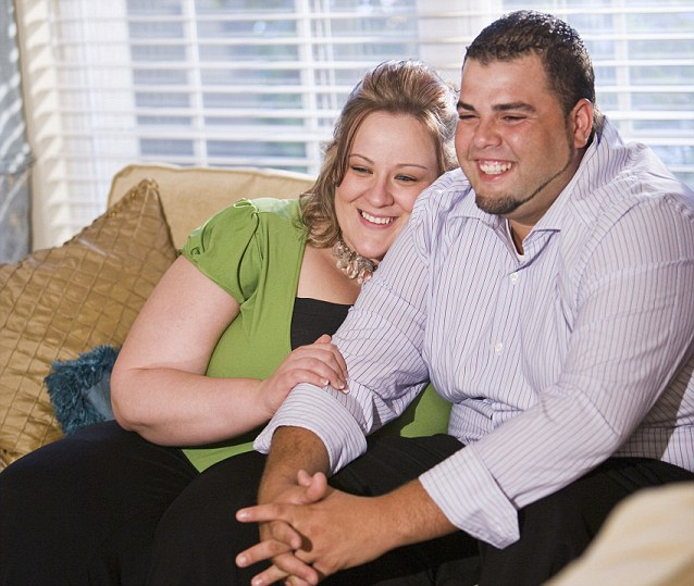Happy overweight couple sitting on sofa in living room