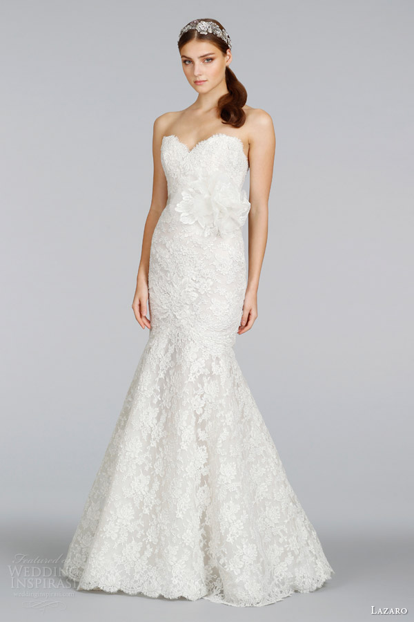 lazaro-bridal-2014-ivory-silver-alencon-lace-strapless-gown-style-3412