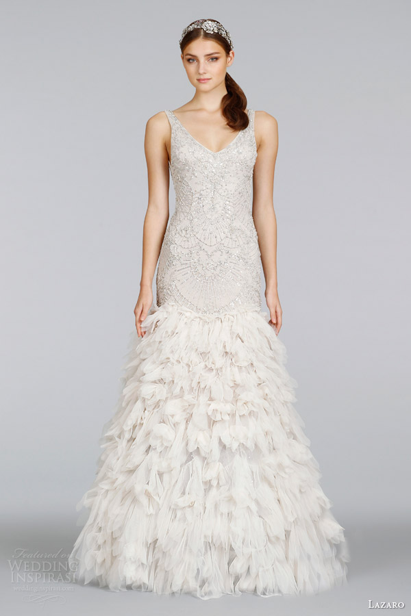 lazaro-bridal-spring-2014-champagne-beaded-art-deco-wedding-dress-with-straps-style-lz-3406