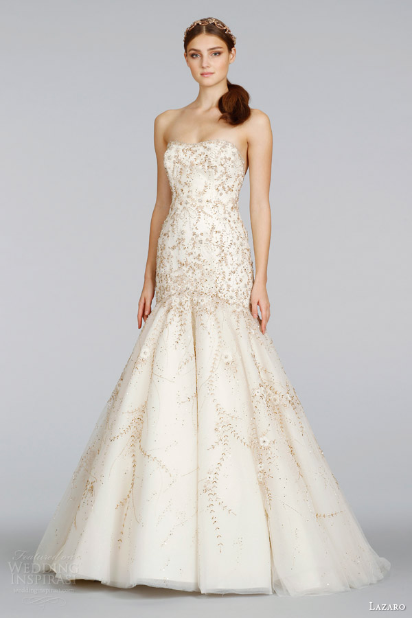 lazaro-spring-2014-bridal-strapless-fit-and-flare-gold-wedding-dress-style-lz-3409