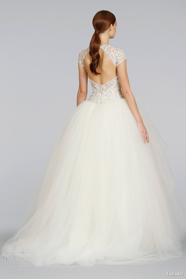 lazaro-wedding-dresses-spring-2014-cap-sleeve-tulle-ball-gown-style-lz-3407-keyhole-back-sweep-train