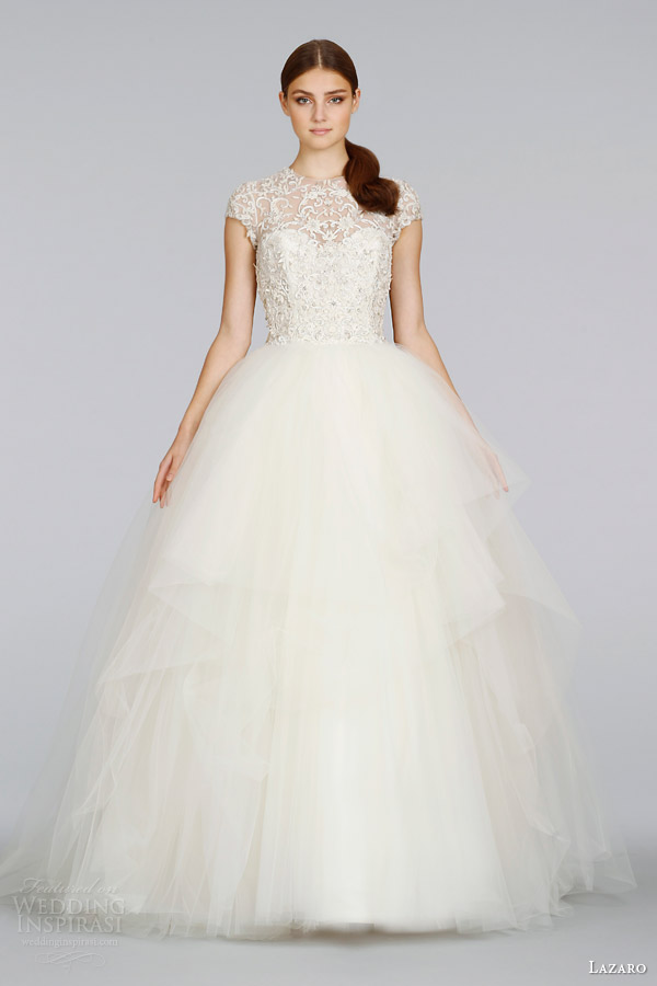 lazaro-wedding-dresses-spring-2014-cap-sleeve-tulle-ball-gown-style-lz-3407