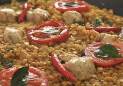 Dazzling chicken with lentils
