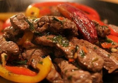 Sliced meat with vegetables