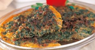 Spinach omelet with meat