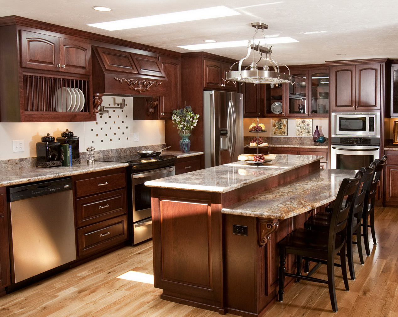 pictures of dark wood kitchen cabinets مطابخ خشب مودرن حواء 24671