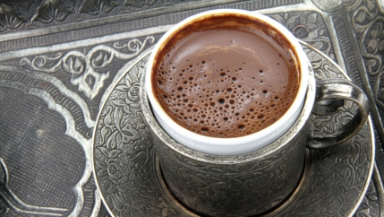 Turkish coffee the way the work of foam